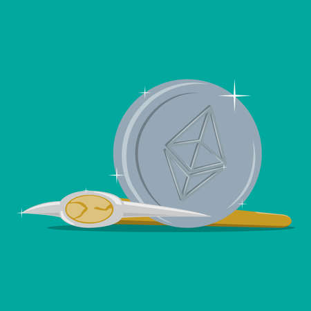 Ethereum sign icon for internet money. Vector illustration. The concept of finance.