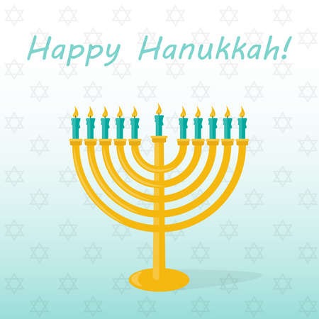 Banner happy Hanukkah with a decor of a candlestick. Vector illustration. Illustration