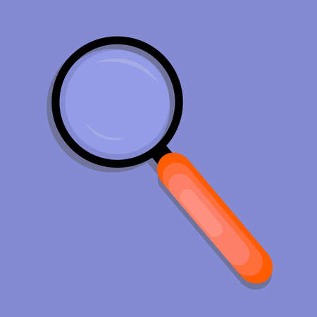 Magnifying glass on a purple background. Vector illustration.