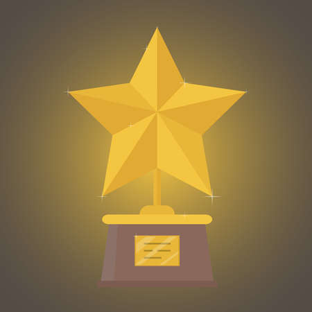 Award gold star. The concept of victory. Vector illustration.