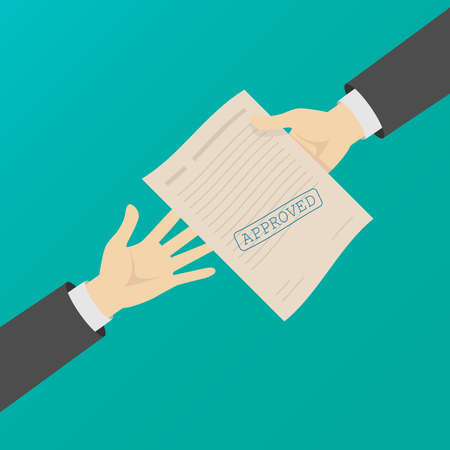 Two hands of men pass a document with a stamp . The concept of business. Vector illustration.