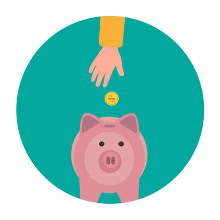 The hand puts a gold coin in the piggy bank. In a green circle on a white background. The concept of economy. Vector illustration.