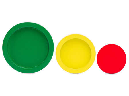 Three different in color and size circle in a row for the development of a child on a white isolated background