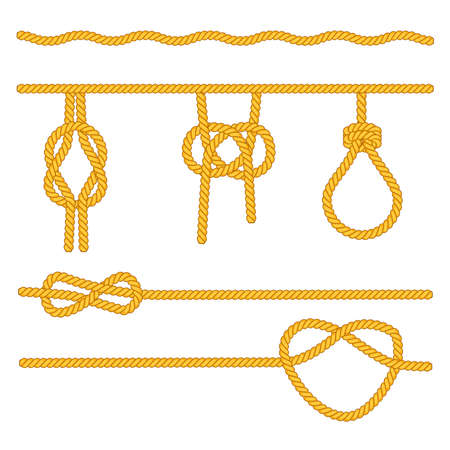 A set of ropes with different variants of knots. Vector illustration. Stock Photo