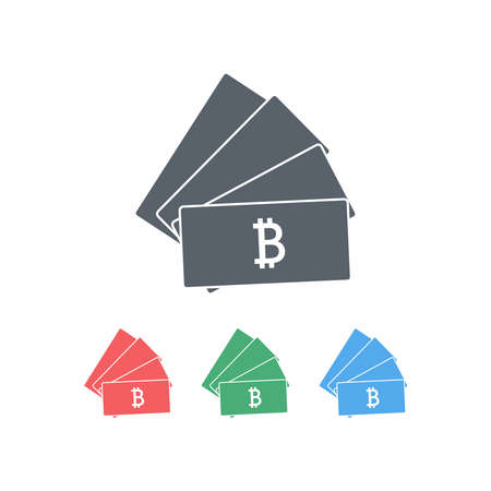 Several colored sets of cards with a bitcoin sign on a white background. The concept of virtual currency. Vector illustration.