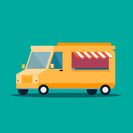 Banner with the image of a shopping orange fast food van on a green background. The concept of street food. Vector illustration.