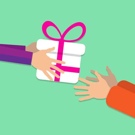 Quelqu'un passe un grand coffret blanc de main en main décoré d'un ruban rose et d'un noeud. Sur un fond vert. Le concept de vacances Illustration vectorielle Banque d'images - 89904672