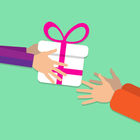 Someone passes a large white gift box from hand to hand decorated with a pink ribbon and bow. On a green background. The concept of a holiday. Vector illustration.