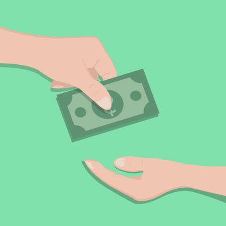 이미지, 사람의 손에 손에 누군가에 게 현금 계산서를 전달합니다. 뇌물의 개념. 삽화.