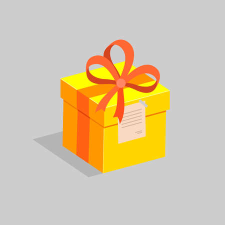 generosidad: A square yellow gift box with a red bow and a small card. The concept of a holiday. Vector illustration.