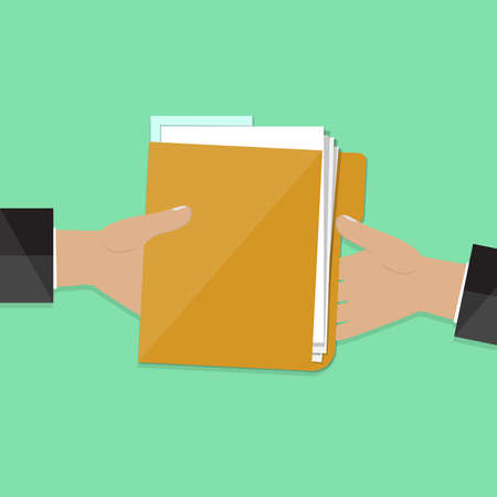Transfer documents in a folder from hand to hand. The concept of business. Vector illustration.