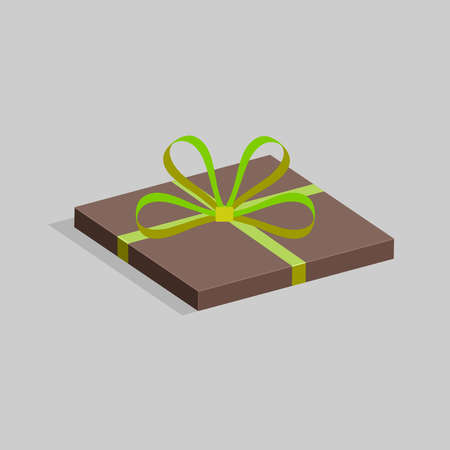 Flat square gift box of brown color wrapped in green ribbon and bow. On a gray background. The concept of a holiday. Vector illustration.