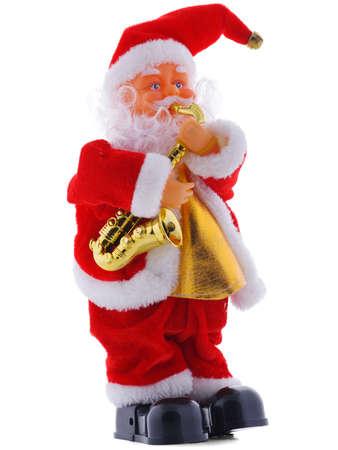 白い背景に分離されたサンタ クロースのクリスマス像