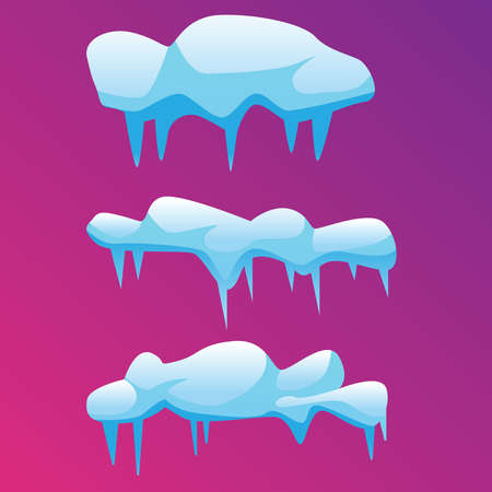 Several icy, melting icicles, on a pink background. Vector illustration.