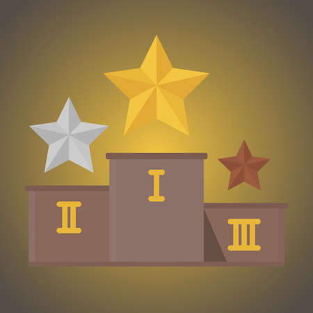 Pedestal with the gold, silver and bronze stars. Vector illustration. Illustration