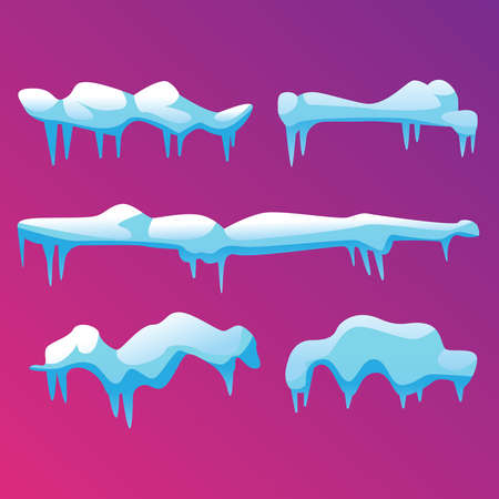 Several snow hats with icicles, vector illustration.