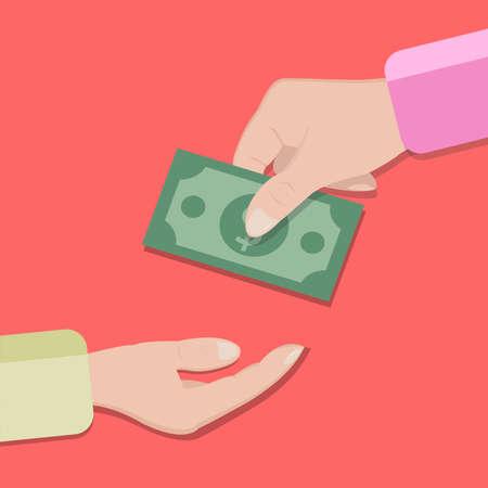 手から手へから引渡しはお金注意。ベクトルの図。