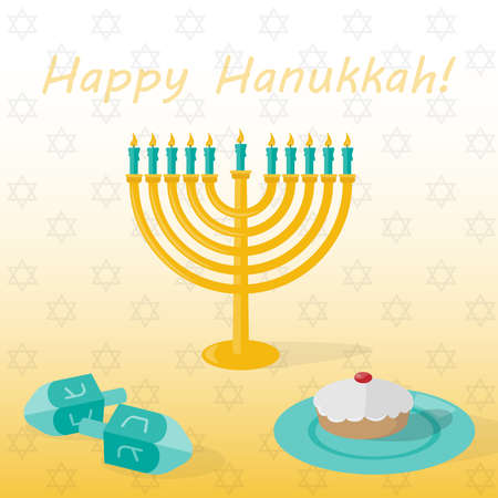 Banner Happy hanukkah with candlestick with candles, cakes and dreidel. Vector illustration.