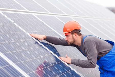 Engineer checks the solar battery