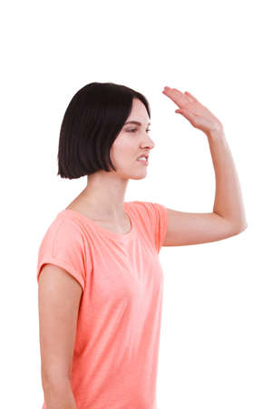Girl angry waved her hand on a white isolated background