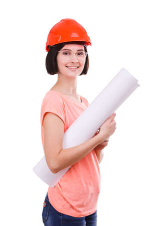 Girl with a paper in a helmet on a white background Stock Photo