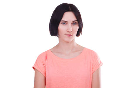 Girl with an insightful look on a white isolated background