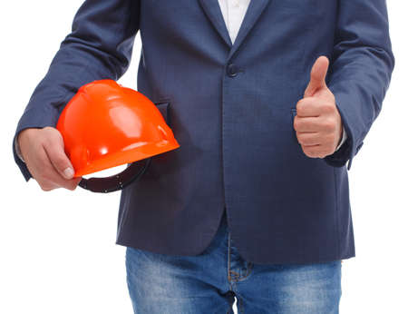 Head holds a hard hat and thumb up on a white isolated background