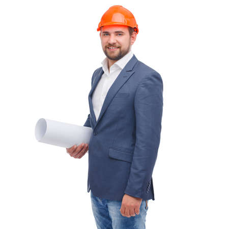 Head in a helmet with a paper in his hand on a white isolated background