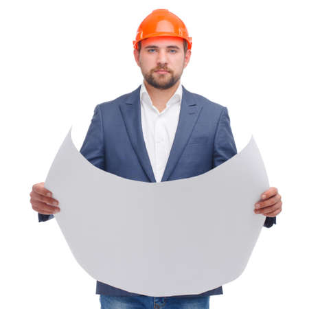 Head with a deployed paper in his hands on a white isolated background Stockfoto