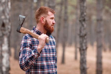 A woodcutter with ginger hair and a beardstands in the woods and holds an ax and looks somewhere. Outdoors. Stock Photo