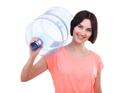A girl is holding a cooler bottle on her shoulder on a white isolated background