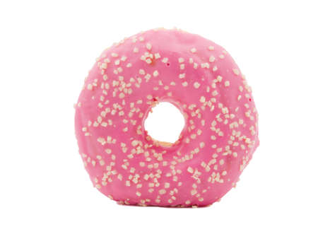 Donut closeup stands on white isolated background
