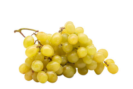 A big bunch of yellow-green grapes. Isolated.