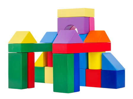 Wooden toys of which have built a childrens, oval arch, with large square columns, childs development, cubes, rear view, isolated on white background.