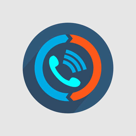 Picture of the handset from which the sound is in the circle. Vector illustration.