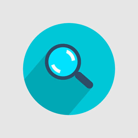 A magnifying glass in a blue circle. Vector illustration.