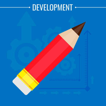 A sharpened pencil with an eraser of red color, on a blue background with a six-footed image. Vector illustration. Illustration