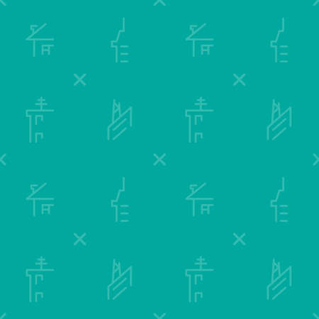 Turquoise pattern with print of commercial buildings. Pattern can be used for background. Vector illustration. Illustration