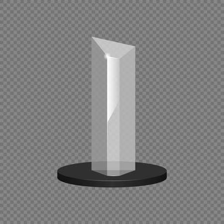 Graphic resource, transparent crystal of rectangular shape on a black round support. On a gray background. Vector illustration.