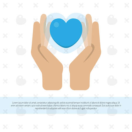 Image of two hands holding a heart. Concept for charity, social network, partnership. Vector illustration.
