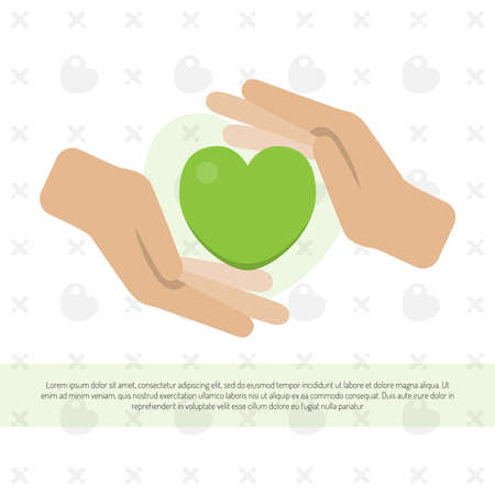 Image of two hands guarding the heart. Concept for charity, social network, partnership. Vector illustration.