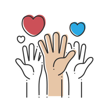Image of hands with hearts on a white background. Concept for charity, social network, partnership. Vector illustration. 일러스트