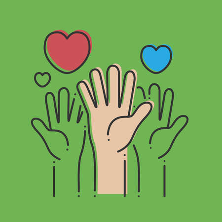 The hands with hearts on a green background. Vector illustration.