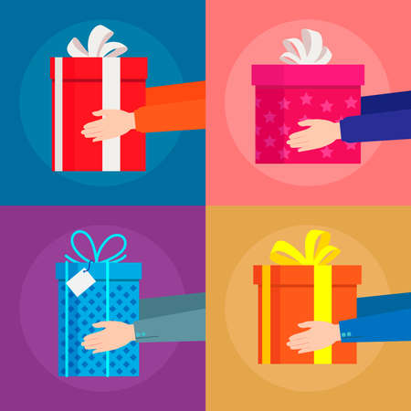 A set with four images of gift boxes that hold the hands of a man. Vector illustration.