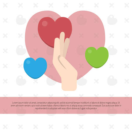 Image of a hand with hearts. Concept for charity, social network, partnership. Vector illustration. 일러스트