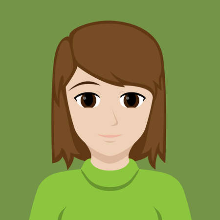 Portrait of a European brunette girl in a green sweater on a green background. Vector illustration.