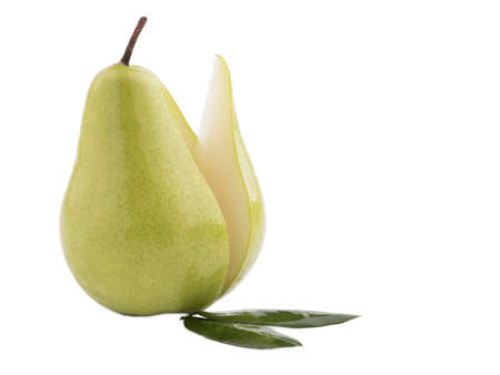 Appetizing ripe and sweet pear with a notch along. Isolated on white background. Close-up.