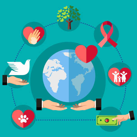 Set of peace icons for charity organizations in the world which denotes love, support, charity, and donation concept. Ilustração