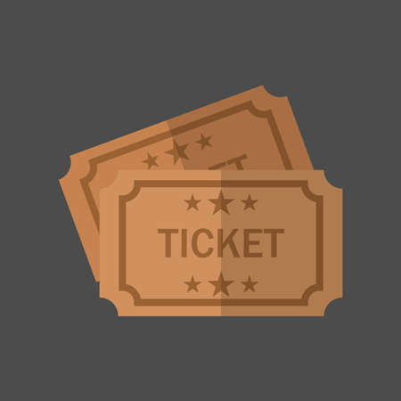 Retro cinema tickets on a gray background. Set of tickets to theater, concert or other events vector illustration.