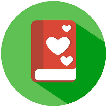 A red book with hearts in a green circle, isolated on white background vector icon. Illustration